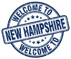 Welcome to New Hampshire blue round vintage stamp Stock Illustration