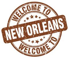 welcome to New Orleans brown round vintage stamp - stock illustration
