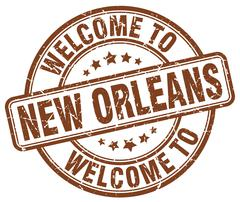 Welcome to New Orleans brown round vintage stamp Stock Illustration