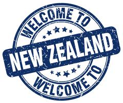 Welcome to New Zealand blue round vintage stamp Stock Illustration