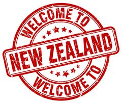 Welcome to New Zealand red round vintage stamp Piirros