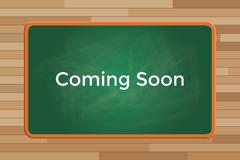 coming soon sign or symbol text with green board chalk vector graphic - stock illustration
