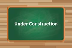 Under construction sign or symbol text with green board chalk vector graphic Stock Illustration