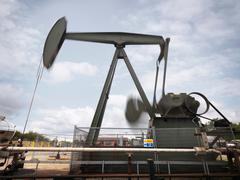 Onshore oil well pump (nodding donkey/pumpjack) with movement blur - stock photo