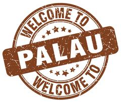 welcome to Palau brown round vintage stamp - stock illustration