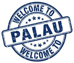 welcome to Palau blue round vintage stamp - stock illustration