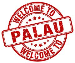 welcome to Palau red round vintage stamp - stock illustration