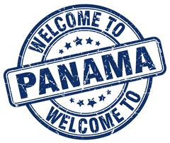 Welcome to Panama blue round vintage stamp Stock Illustration