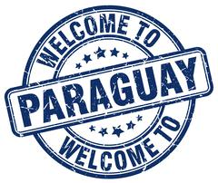 Welcome to Paraguay blue round vintage stamp Stock Illustration