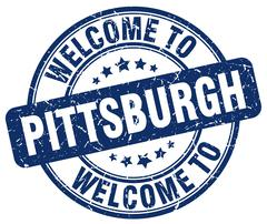 welcome to Pittsburgh blue round vintage stamp - stock illustration