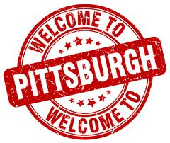 welcome to Pittsburgh red round vintage stamp - stock illustration