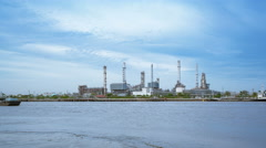 Oil Refinery or Oil Industry in front of Chao Phraya River Stock Footage