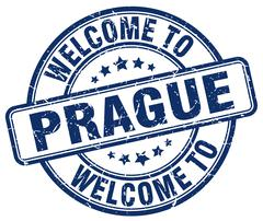Welcome to Prague blue round vintage stamp Stock Illustration