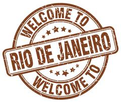 welcome to Rio De Janeiro brown round vintage stamp - stock illustration