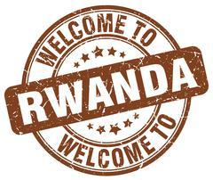 Welcome to Rwanda brown round vintage stamp Stock Illustration