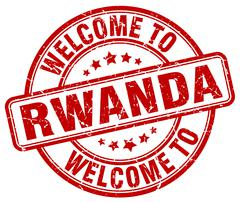 Welcome to Rwanda red round vintage stamp Stock Illustration
