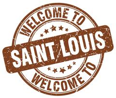 Welcome to Saint Louis brown round vintage stamp Piirros