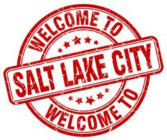 welcome to Salt Lake City red round vintage stamp - stock illustration