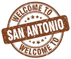 Welcome to San Antonio brown round vintage stamp Stock Illustration