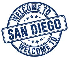 Welcome to San Diego blue round vintage stamp Piirros