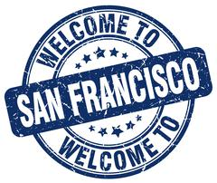 Welcome to San Francisco blue round vintage stamp Piirros