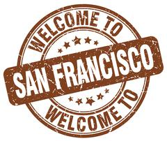 Welcome to San Francisco brown round vintage stamp Piirros