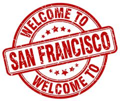 Welcome to San Francisco red round vintage stamp Piirros