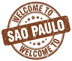 welcome to Sao Paulo brown round vintage stamp - stock illustration