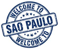 Welcome to Sao Paulo blue round vintage stamp Stock Illustration