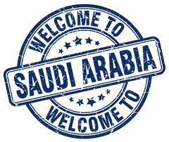 Welcome to Saudi Arabia blue round vintage stamp Stock Illustration