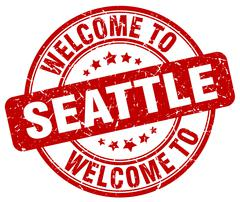 Welcome to Seattle red round vintage stamp Piirros