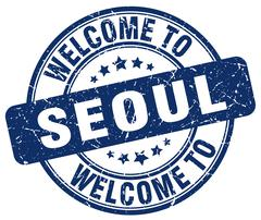 Welcome to Seoul blue round vintage stamp Piirros