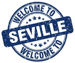 Welcome to Seville blue round vintage stamp Piirros