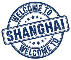 Welcome to Shanghai blue round vintage stamp Stock Illustration