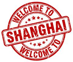 Welcome to Shanghai red round vintage stamp Stock Illustration