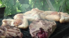 Chicken And Pork Barbecue Stock Footage