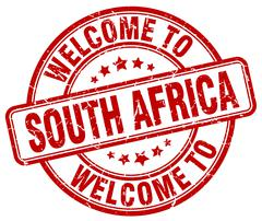 welcome to South Africa red round vintage stamp - stock illustration