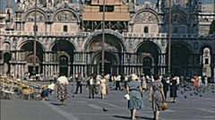 Venice 1958: people walking in Saint Mark square Stock Footage