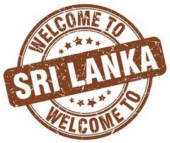 welcome to Sri Lanka brown round vintage stamp - stock illustration