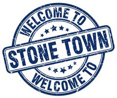 welcome to Stone Town blue round vintage stamp - stock illustration