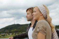 Couple looking into the distance Stock Photos
