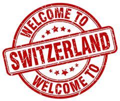welcome to Switzerland red round vintage stamp - stock illustration