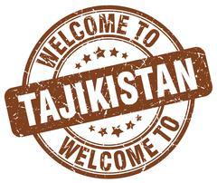Welcome to Tajikistan brown round vintage stamp Stock Illustration