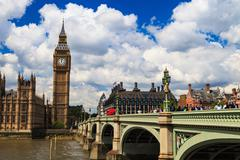 Big Ben and house of parliament on Sunny Day, London, UK Stock Photos