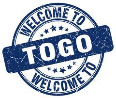 Welcome to Togo blue round vintage stamp Stock Illustration