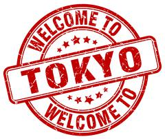 Welcome to Tokyo red round vintage stamp Piirros