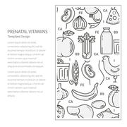 Vitamins for pregnant flyer template - stock illustration