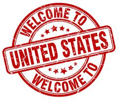 welcome to United States red round vintage stamp - stock illustration