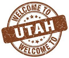 Welcome to Utah brown round vintage stamp Stock Illustration