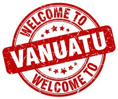Welcome to Vanuatu red round vintage stamp Stock Illustration